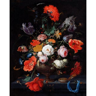 Painted Flower Bouquet Dutch Floral Still Life Print Unframed For Sale