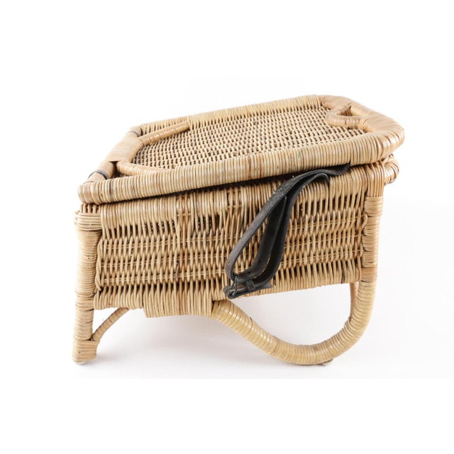 Americana Vintage Wicker Picnic Basket Folding Chair For Sale - Image 3 of 13