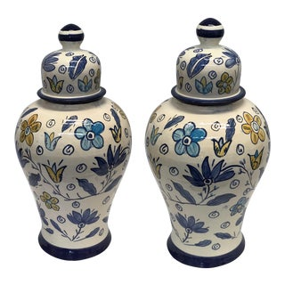 Moroccan Lidded Jars - a Pair For Sale