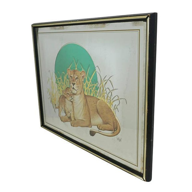 Vintage Glassiques by Murray Skoff Enterprises Mother & Baby Lion Mirror For Sale - Image 4 of 10