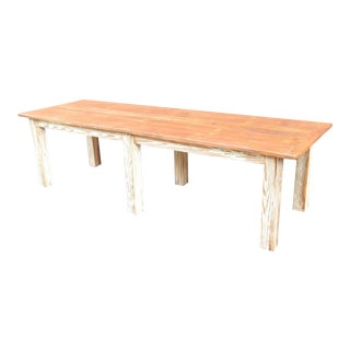 Reclaimed Heart Pine and Bead Board Farmhouse Table For Sale