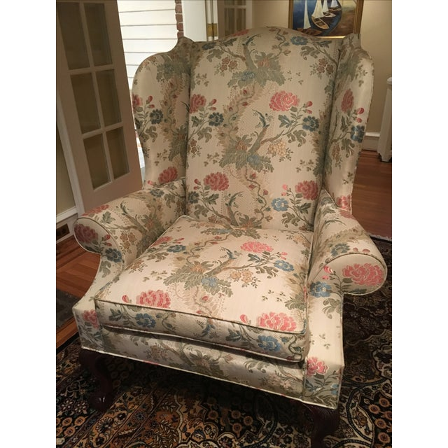 Kindle Floral Motif Wing Chair - Image 2 of 6