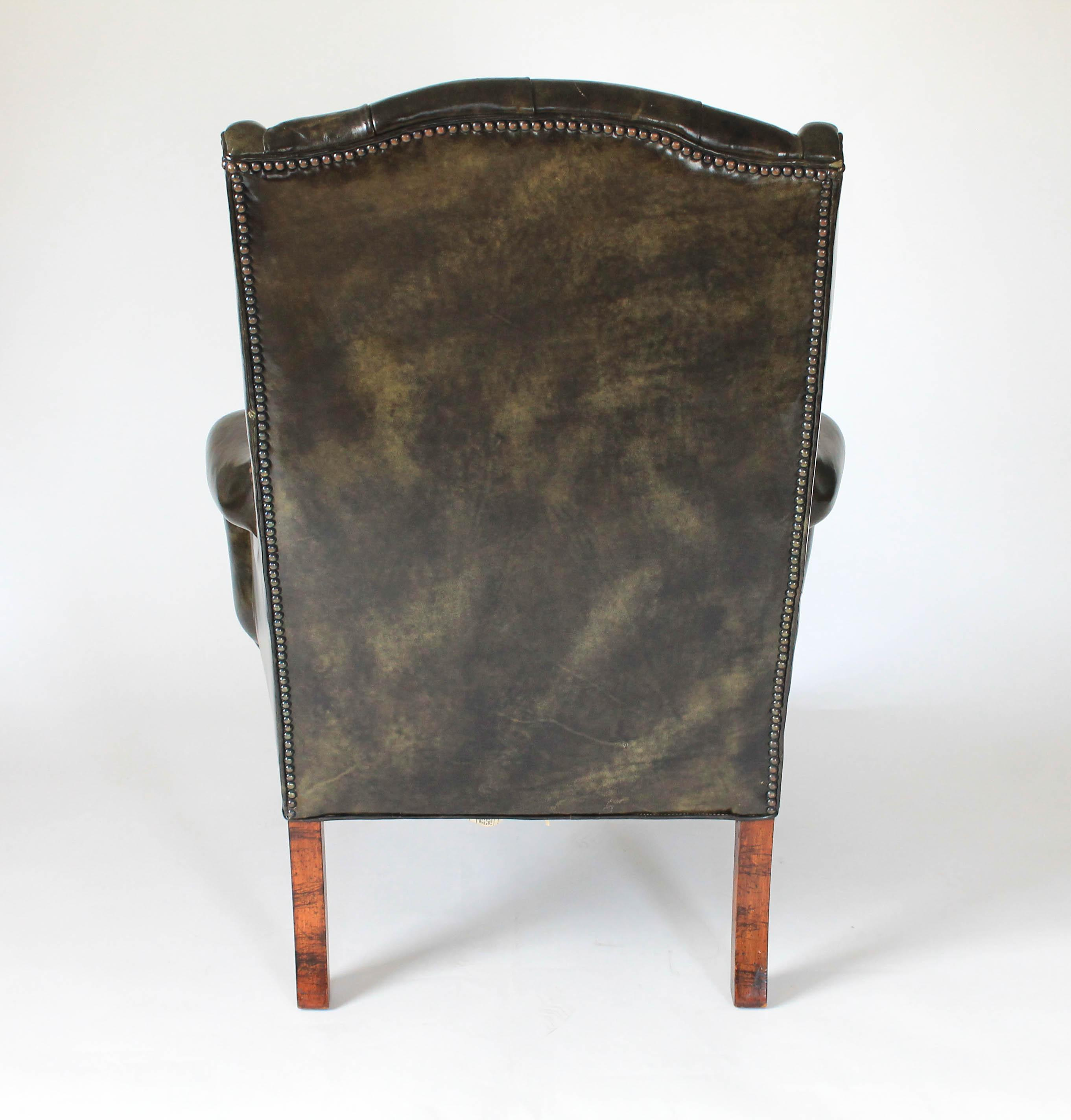 Forest Green Leather Wingback Chair   Image 5 Of 10
