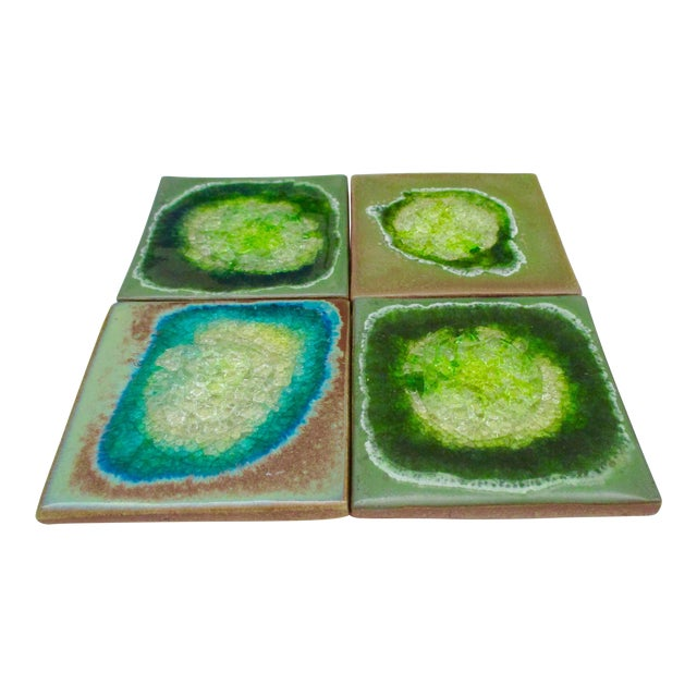 Geode Crackle Glass Coasters - Set of 4 For Sale