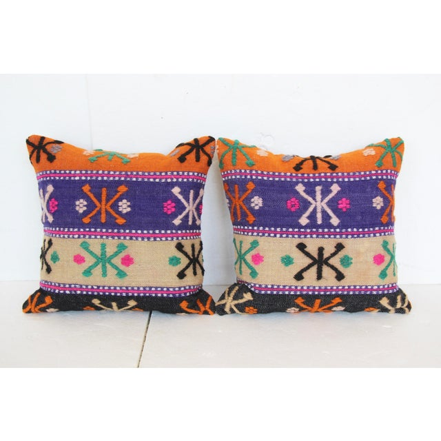 Boho Chic Turkish Kilim Cushions - A Pair For Sale - Image 3 of 4