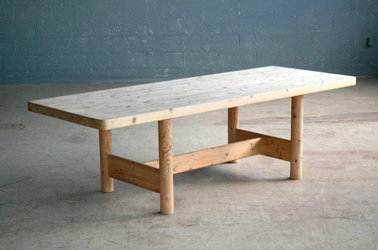 Large Farm Dining Table In Pine, Danish, Midcentury   Image 3 Of 10