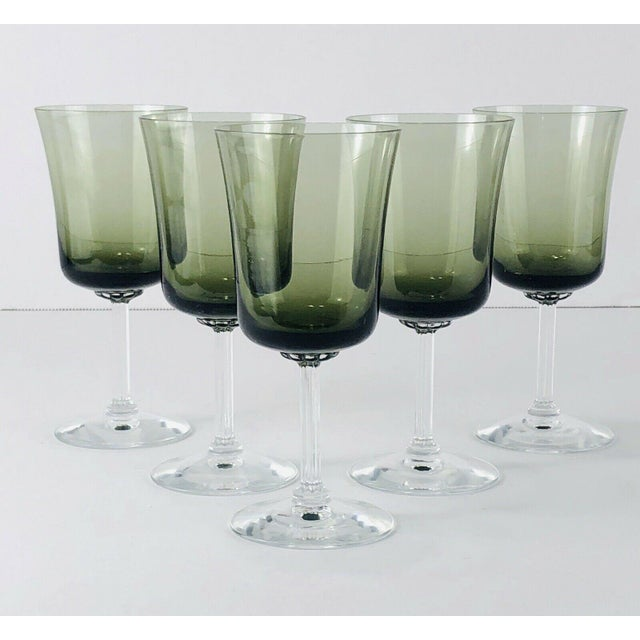 Mid 20th Century Vintage Fostoria Glamour Green Tulip Wine Water Stems - Set of 5 For Sale In Boston - Image 6 of 6
