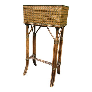Antique Bamboo and Cane Box Plant Stand For Sale