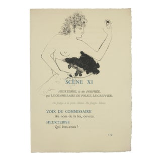 """Scene Xi"", Original Lithograph From the Illustrated Play, ""Orphee"", by Jean Cocteau, Circa 1944 For Sale"
