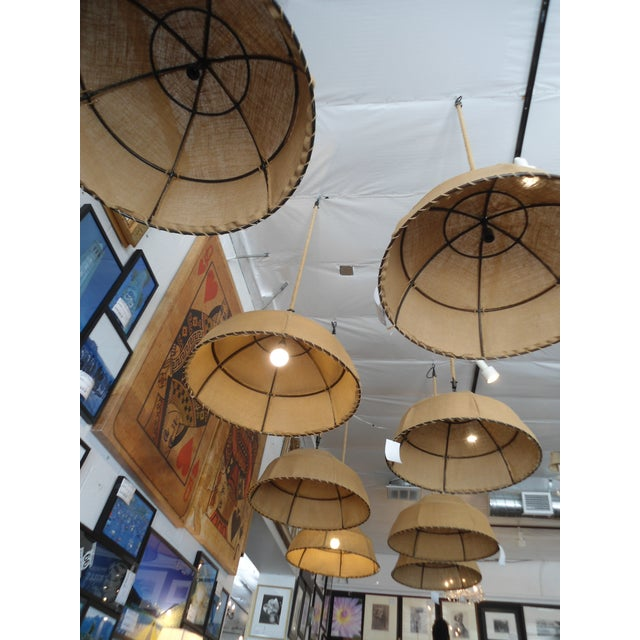 Restoration Hardware Burlap Pendant Light For Sale In Los Angeles - Image 6 of 6
