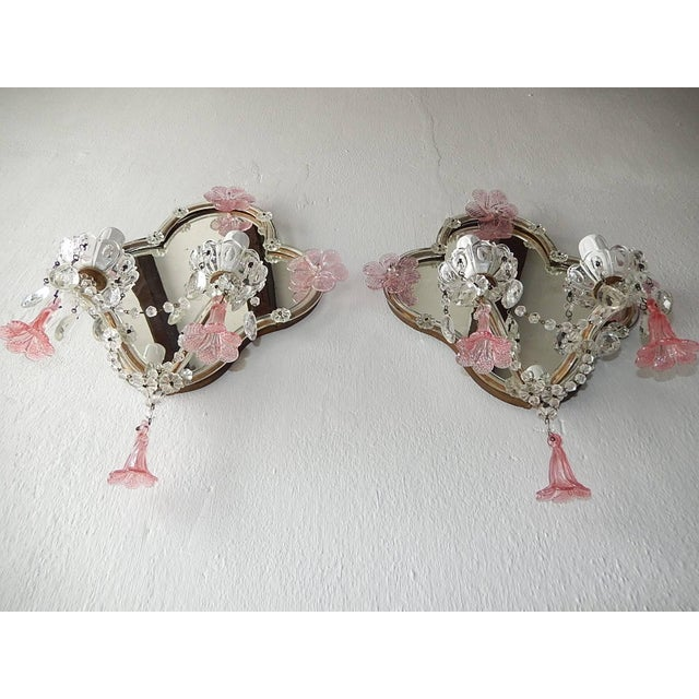 Glass Huge Maison Baguès Style Mirror with Pink Murano Flowers Sconces For Sale - Image 7 of 9