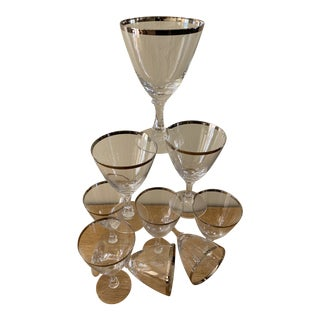 Silver Rimmed Wine Vintage Cocktail Glasses - Set of 9 For Sale