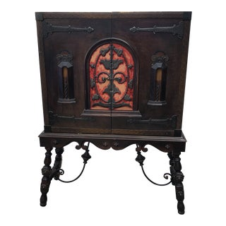 1940s Gothic Carved Wood Cabinet For Sale