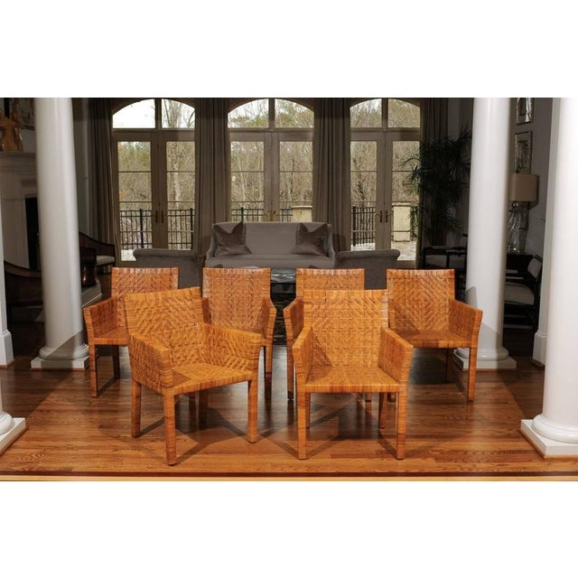 Terrific Restored Set of Six Cane Chairs in the Style of Jean-Michel Frank For Sale In Atlanta - Image 6 of 11