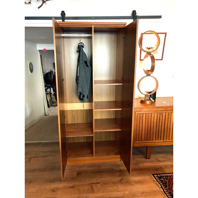 1980s Vintage Danish Teak Wood Armoire With Adjustable Shelving For Sale - Image 4 of 7