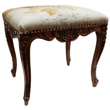19th Century French Bench with Aubusson For Sale - Image 4 of 4