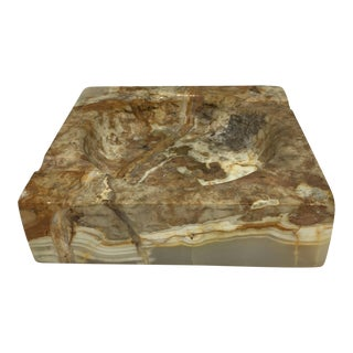 Vintage Marbled Onyx Ashtray For Sale