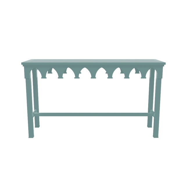 Metal Oomph Ocean Drive Outdoor Console Table, Green For Sale - Image 7 of 8