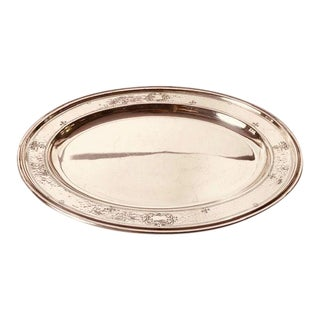 Vintage Reed & Barton Silver Plate Hammered Oval Platter / Tray For Sale