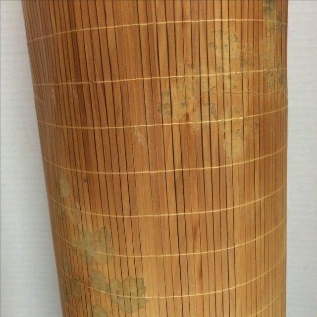 Mid Century Lamps, Painted Bamboo Shades - Pair - Image 4 of 11