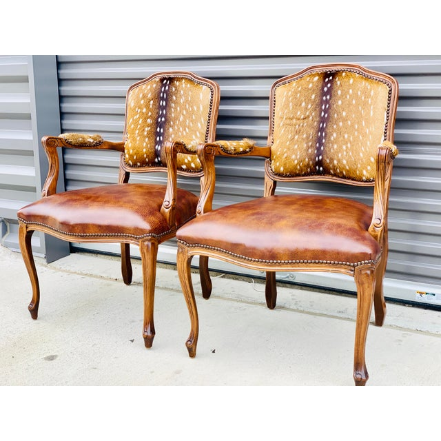 Lodge Modern Axis Deer Arm Chairs- a Pair For Sale - Image 3 of 13