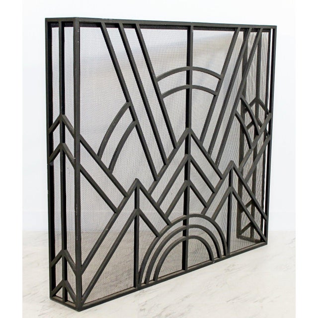Mid-Century Modern Neo Art Deco Wrought Iron Metal Fireplace Screen For Sale - Image 3 of 5