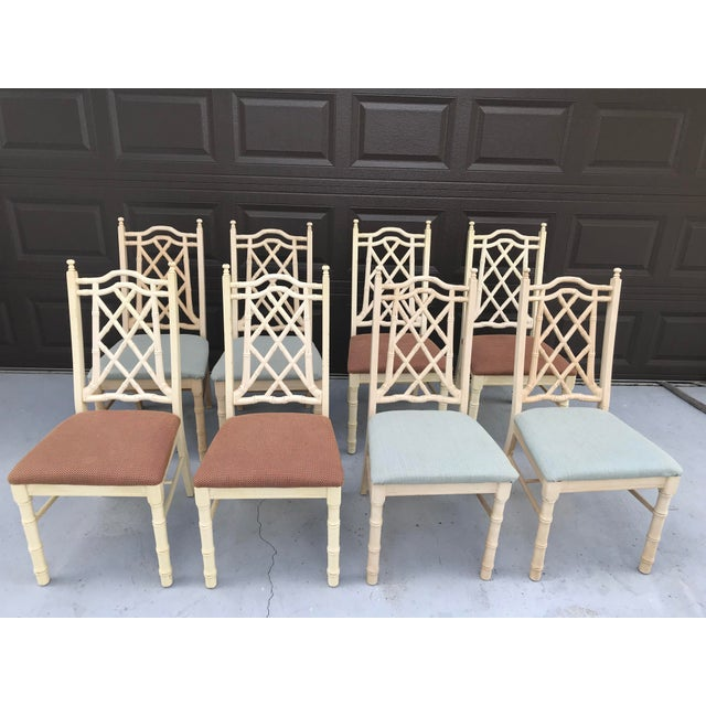 1960s Vintage Chinoiserie Faux Bamboo Dining Chairs- Set of 8 For Sale - Image 10 of 10