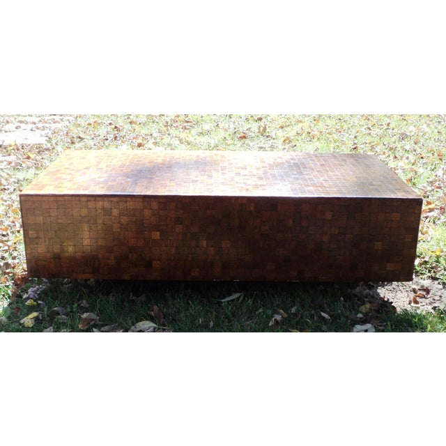 Mid-Century Modern Patchwork Wood Coffee Table - Image 8 of 11