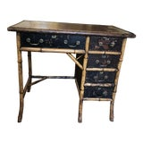 Image of Antique Bamboo Desk With Red Leather Top For Sale