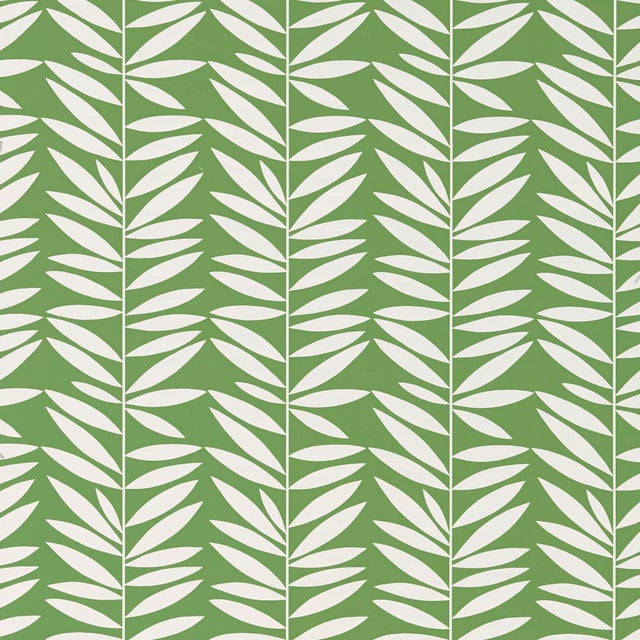 Contemporary Schumacher Leaf Stripe Wallpaper in Leaf For Sale - Image 3 of 3