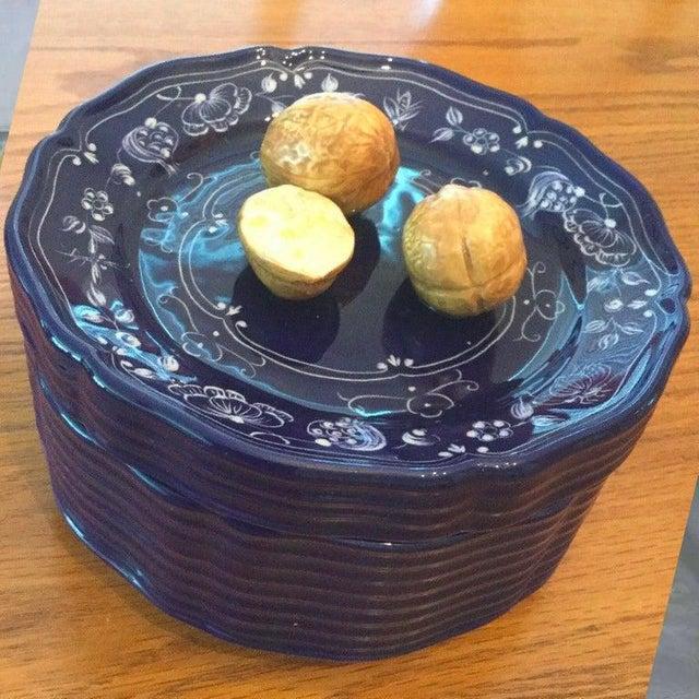 Tiffany and Co. Vintage Este Ceramiche Tiffany & Co. R1029 Walnut Nut Bowl & Lid, Cobalt, Signed For Sale - Image 4 of 4