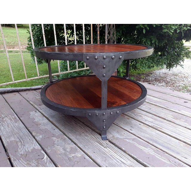 Late 20th Century Industrial Farmhouse Round 2 Tier Reclaimed Chestnut Wood & Steel Coffee Table For Sale - Image 5 of 13
