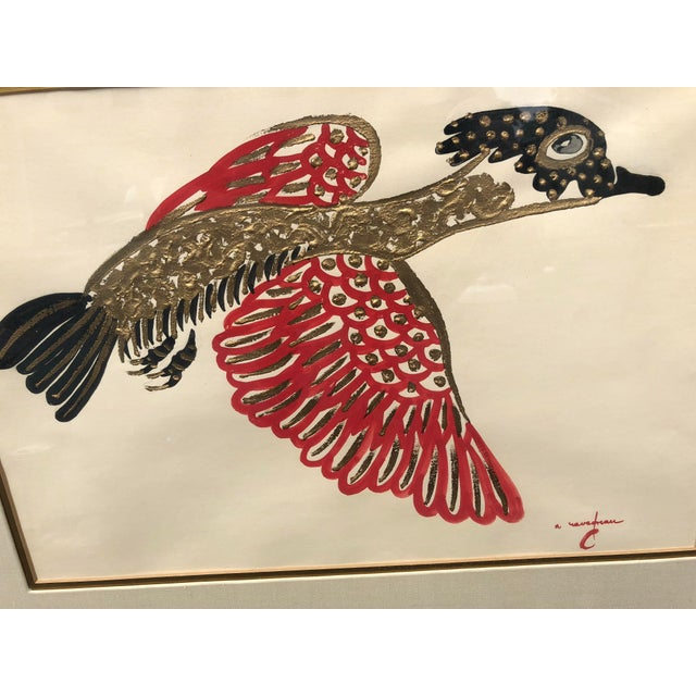Gold/ Red/ Black Bird Acrylic Painting in Red Bamboo Frame For Sale - Image 4 of 12