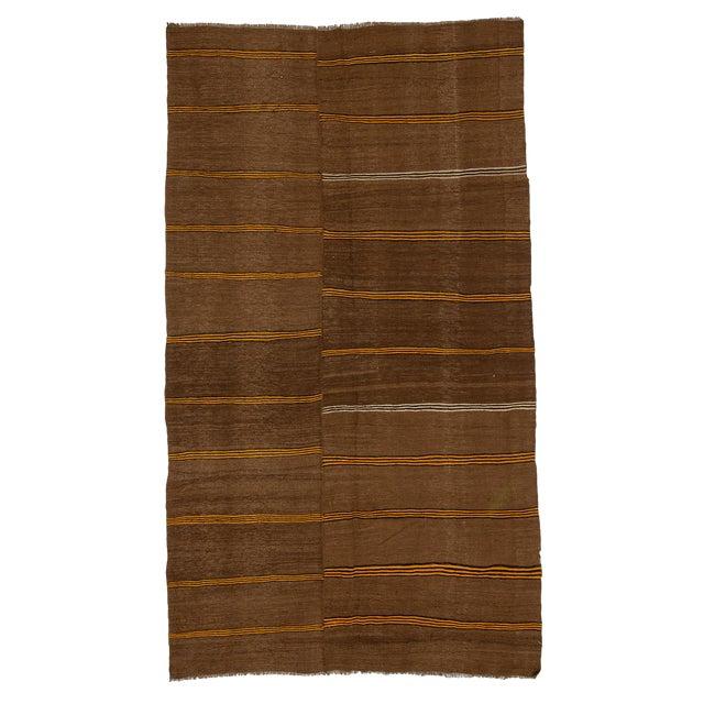 1960s Vintage Striped Brown Kilim Rug- 6′2″ × 10′7″ For Sale