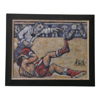 Arthur Smith Signed Original 'Boxing' Painting For Sale