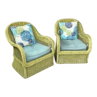 Henry Link Wicker Chairs - a Pair For Sale