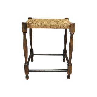 Antique English Handwoven Rope Stool For Sale