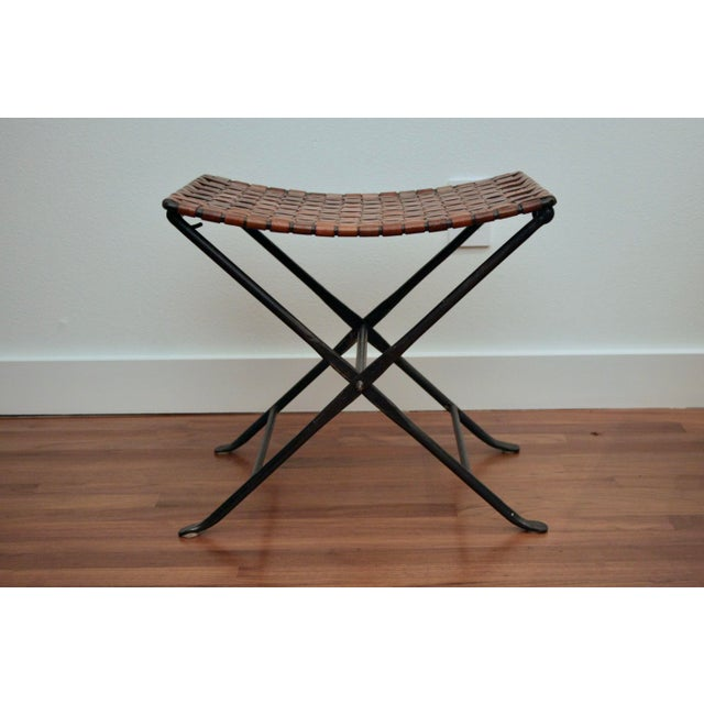 Leather and Iron Folding X-Base Ottoman / Stool For Sale - Image 4 of 12