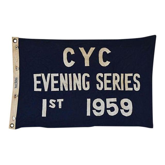 Vintage 1959 Cleveland Yacht Club Trophy Flag For Sale