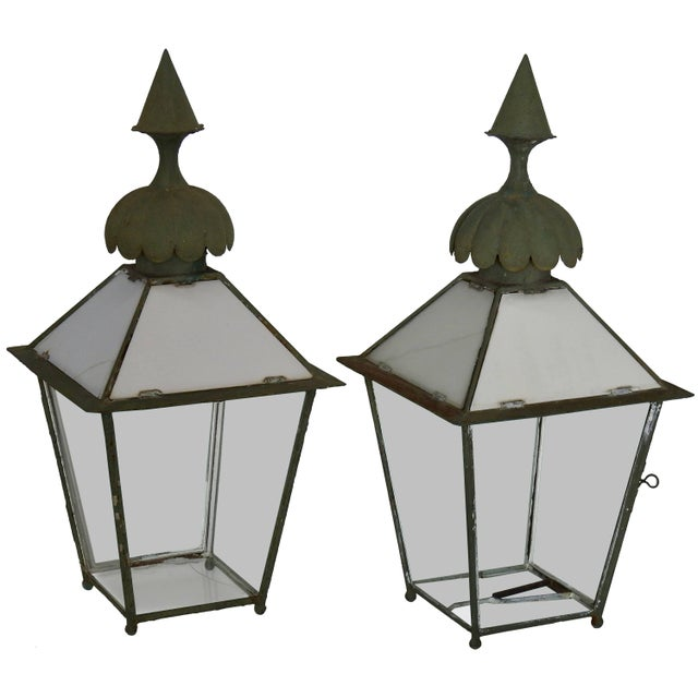 Black 19th Century Pair of Victorian Gasolier Lanterns For Sale - Image 8 of 8