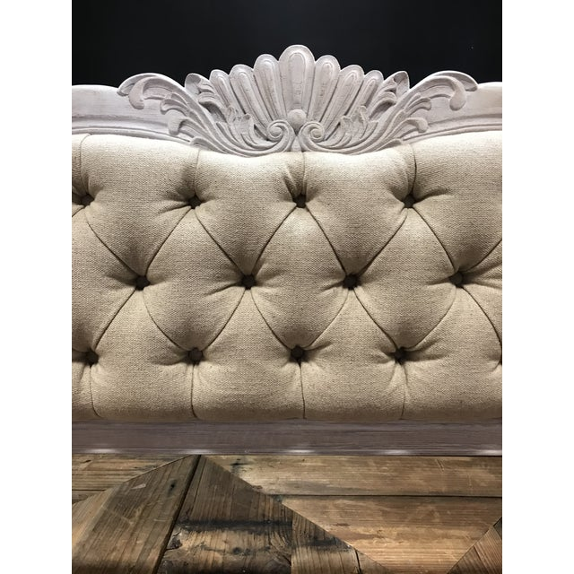 King size carved mahogany bed frame comprised of headboard two rails and foot board in a white washed finish newly...