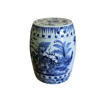 Chinese Blue & White Porcelain Kirin Round Stool Table For Sale