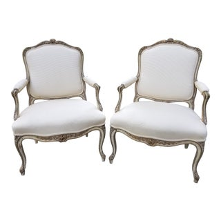 Vintage French Louis XV Style Armchairs - a Pair