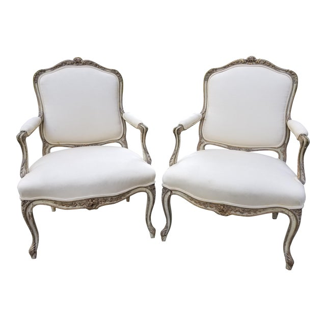 Vintage French Louis XV Style Armchairs - a Pair For Sale