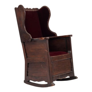 English Country Winged Pine Rocking Chair For Sale