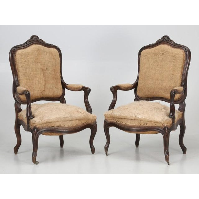 Antique French set of (6) chairs, intricately carved in the late 1800s in as found condition. This set of (6) antique...