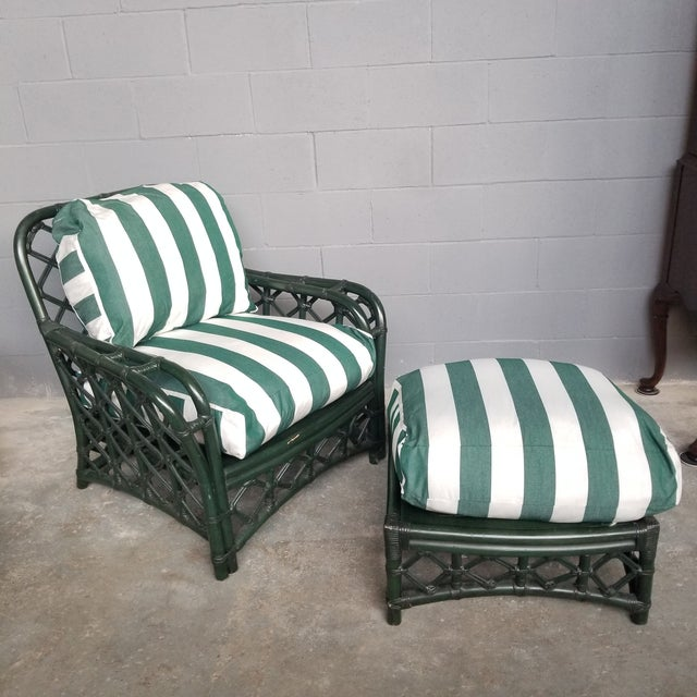 Boho Chic 1960s Vintage Ficks Reed Hunter Green Rattan Lounge Chair and Ottoman Set For Sale - Image 3 of 13