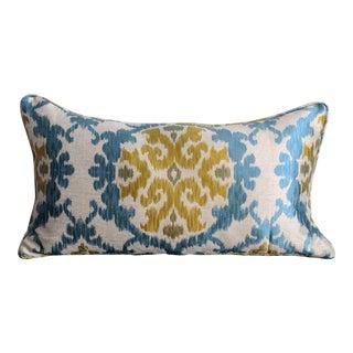 Ikat Lumbar Pillow - Turquoise Blue and Mustard Green