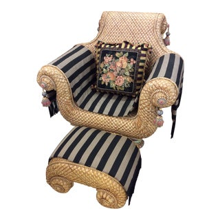 """""""MacKenzie Childs"""" Throne Chair With Ottoman and Pillow For Sale"""