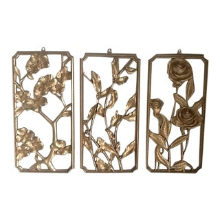 Vintage Syroco Gold Tone Floral Design Wall Decor - Set of 3 For Sale